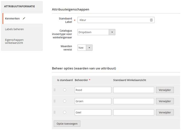 Attributen in Magento 2